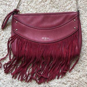 Guess Maroon fringe purse
